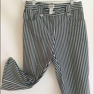 CHICOS Pants Chef Striped Capri Crop Sz 1 M 8